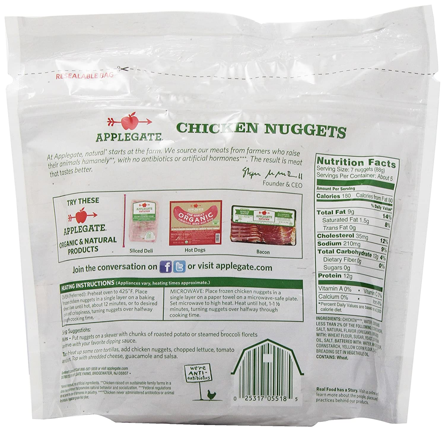 Applegate, Natural Chicken Nuggets Family Size , 16 Oz (frozen): Amazon: