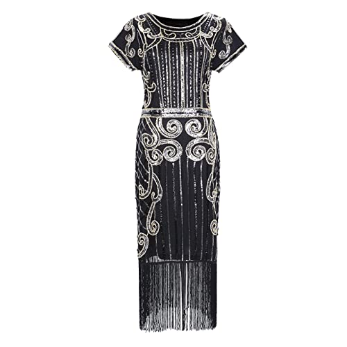 Clothin Womens 1920s Style Beaded Deco Flapper Dress Vintage Inspired Sequin Embellished Fringe Gatsby Dress