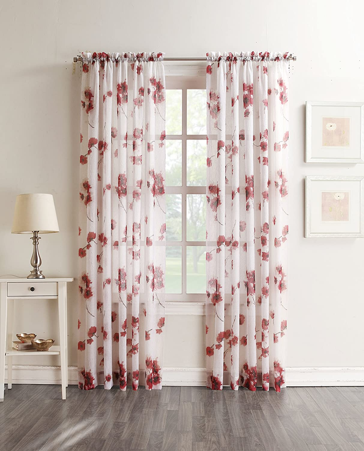 "Kiki Floral Crushed Sheer Voile Curtain Panel, 51"" x 84"", Coral Orange"