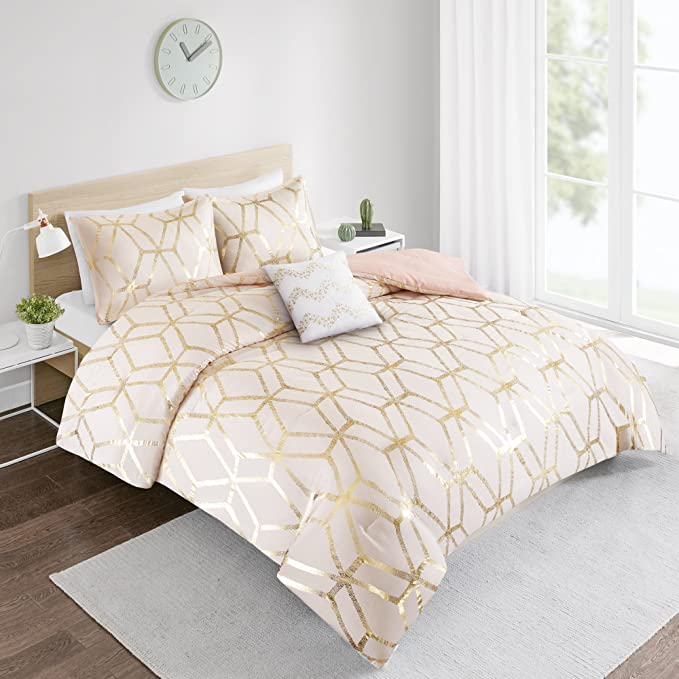 Review Comforter Set Queen Bedding Set - Vivian 4 Piece Blush Pink/Gold - Geometric Metallic Print - Hypoallergenic Soft Microfiber Lightweight All Season Queen Comforter - Fits Full/Queen