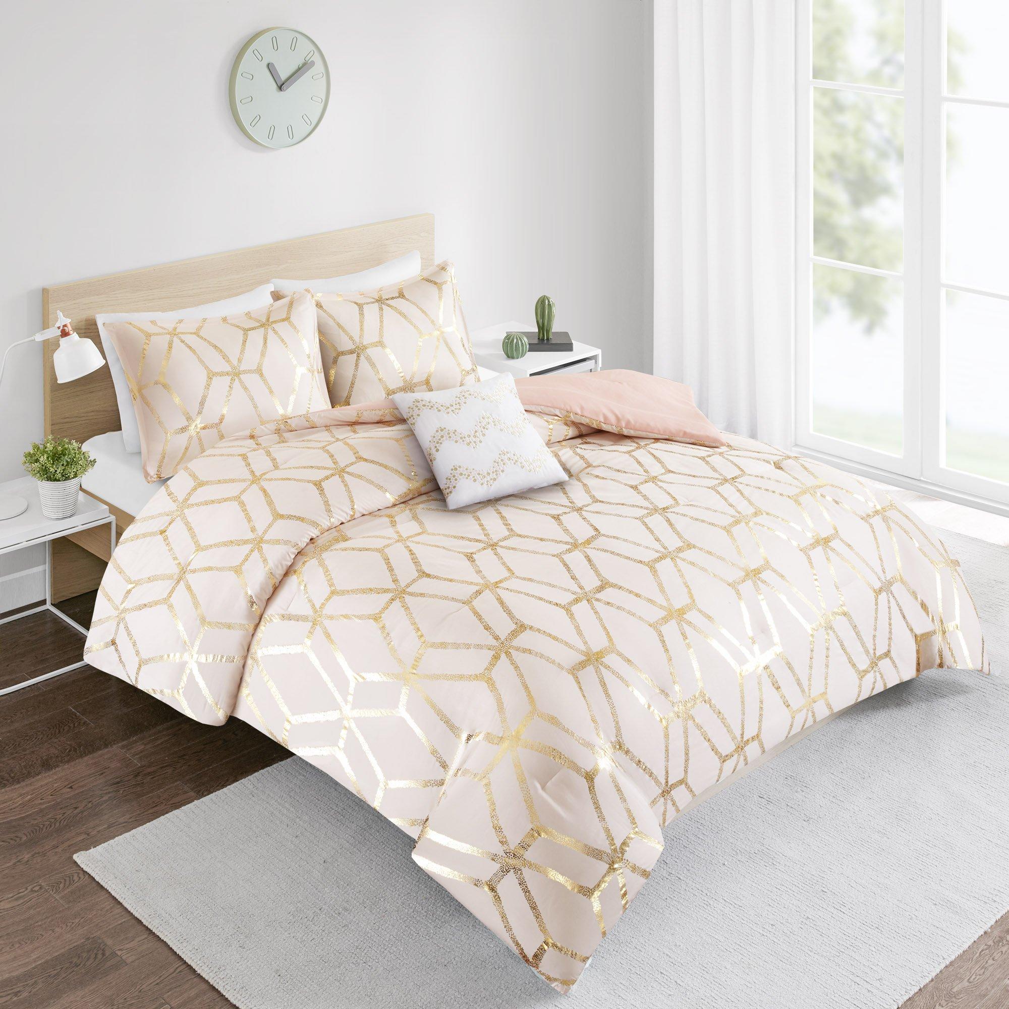 Comforter Set Twin Bedding Set - Vivian 3 Piece Blush Pink/Gold - Geometric Metallic Print - Hypoallergenic Soft Microfiber Lightweight All Season Twin Comforter - Fits Twin/Twin XL