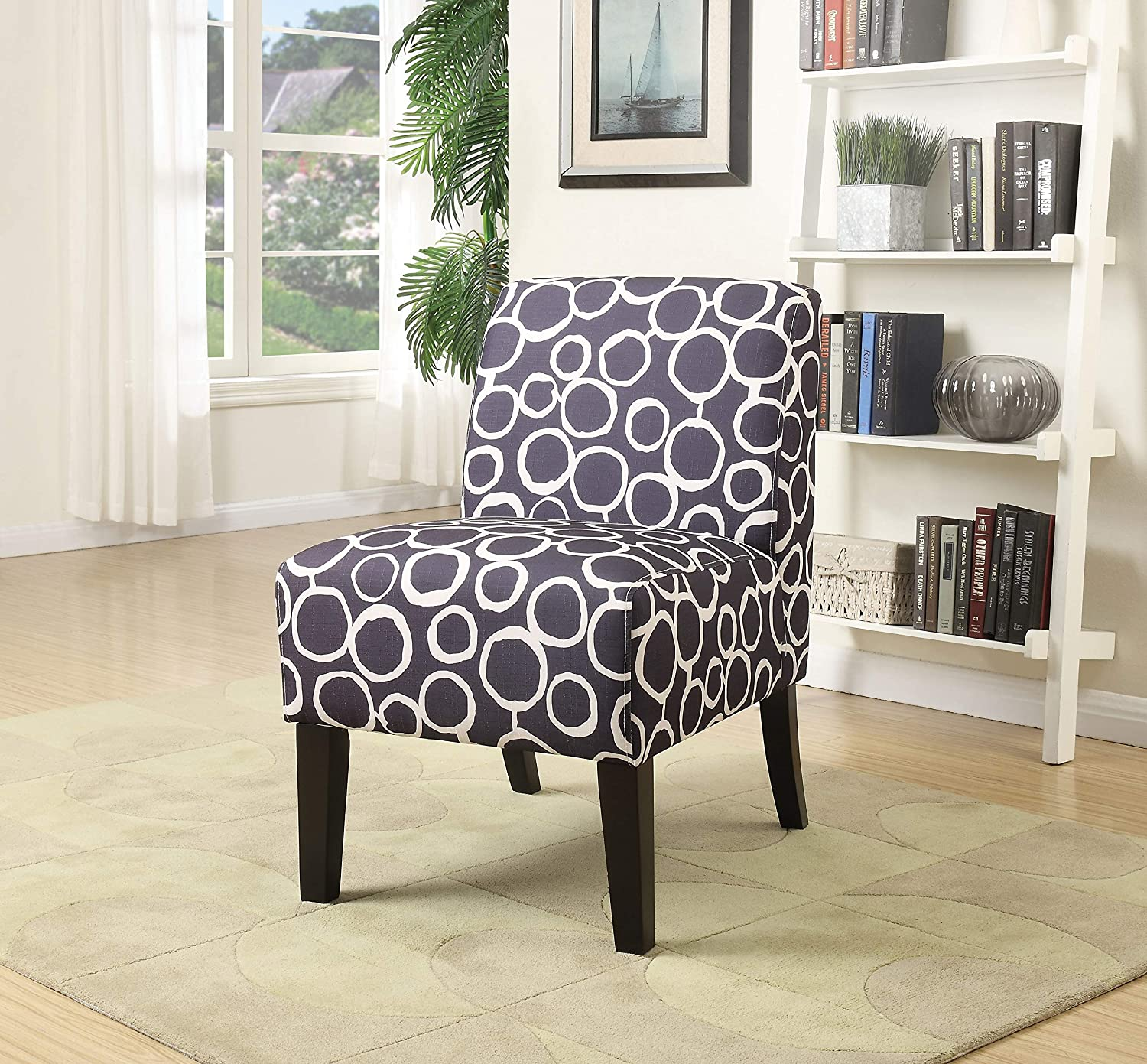 Benzara Ollano Accent Chair, Pattern Fabric, Livid and White