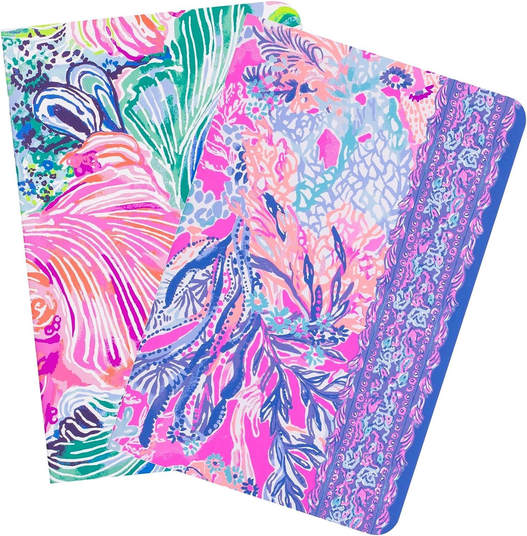 Lilly Pulitzer Women's Pocket Notebook Set of 2 Wellness, Fitness, Beach Please