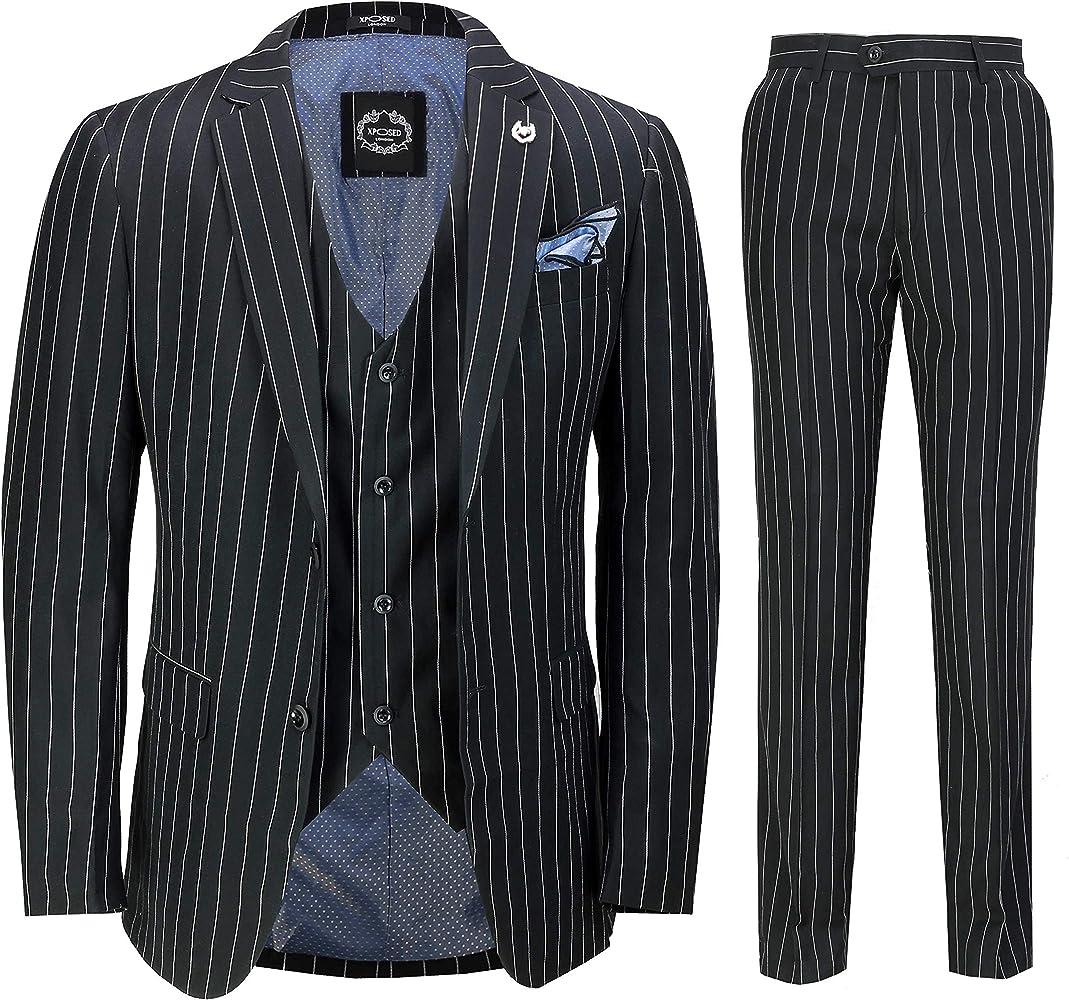 04bfec35 Mens 3 Piece Pin Stripe Suit Black White Retro 1920s Peaky Blinders Gatsby  Style