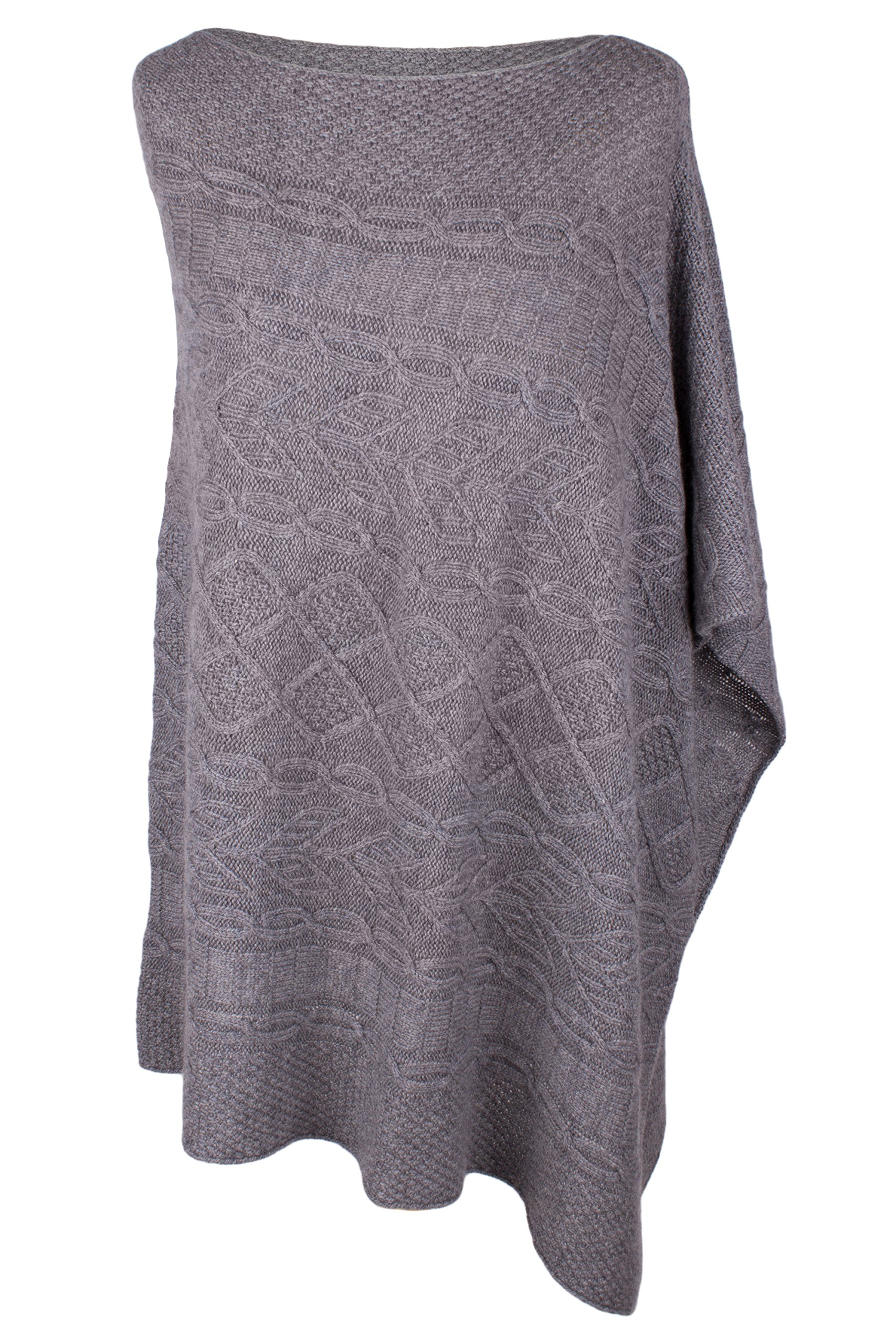 Women's 100% Cashmere Cable Poncho - Light Gray - made in Scotland by Love Cashmere