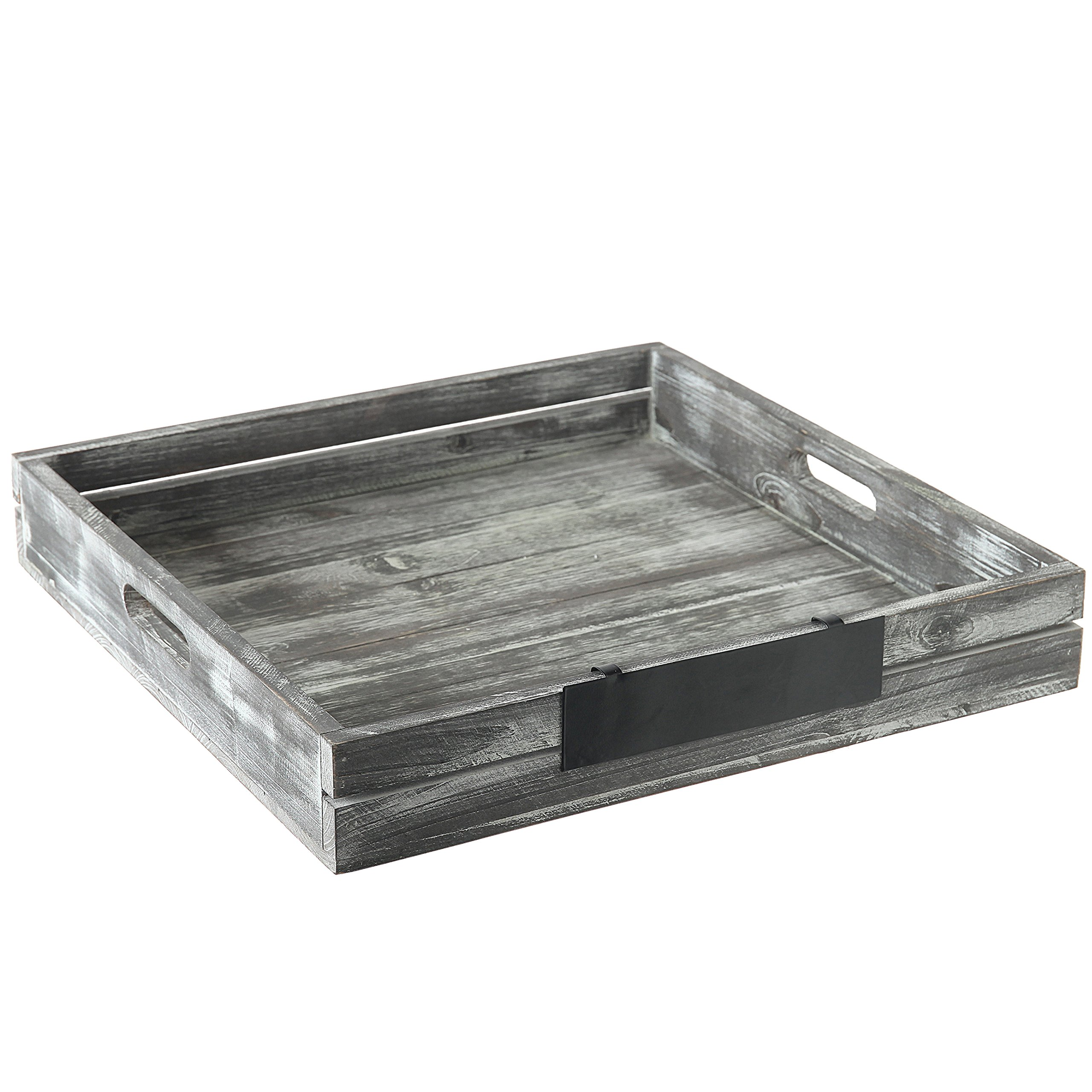 MyGift Whitewashed Gray Wood Crate Style Serving Tray with Handles & Removable Metal Chalkboard Label