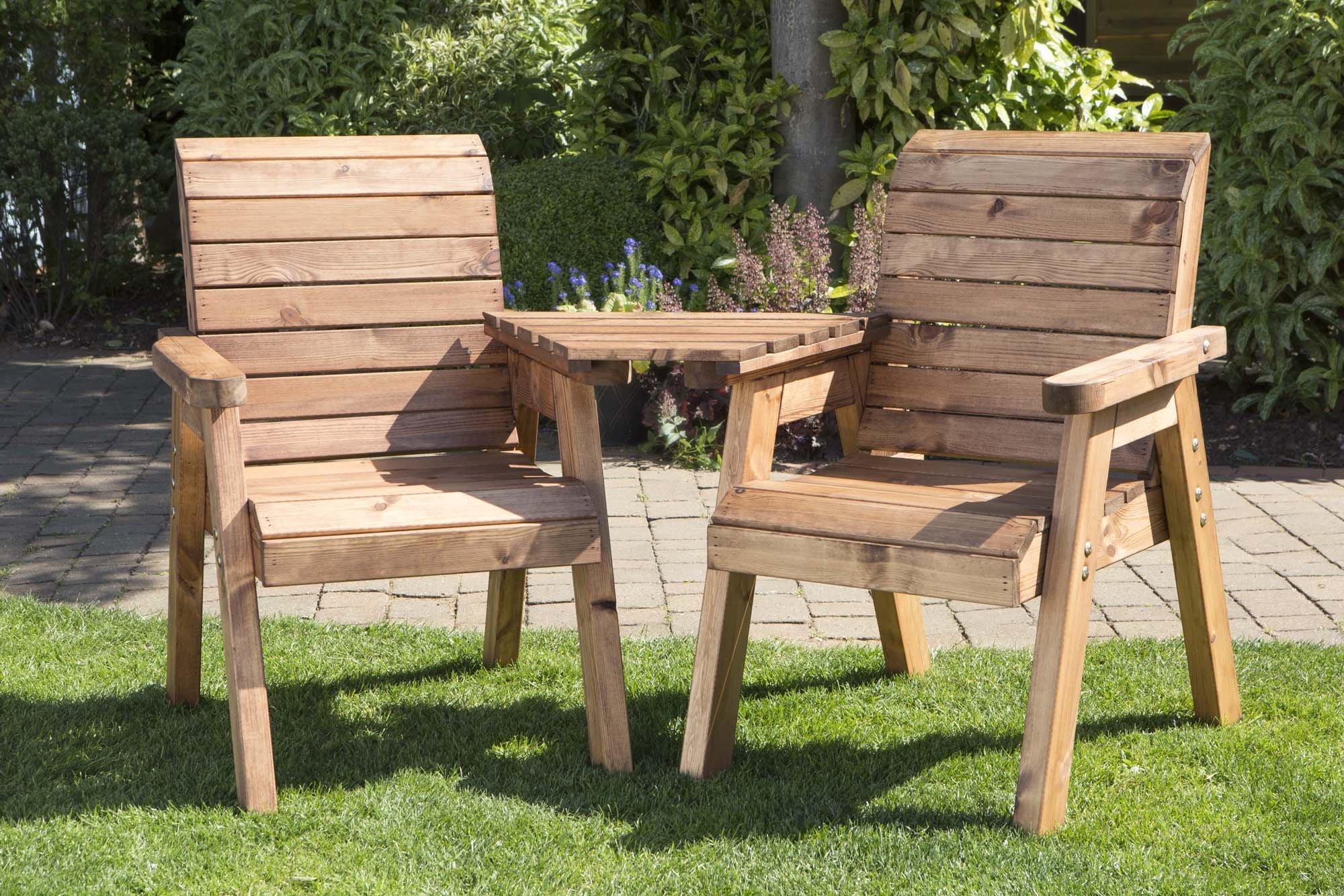 Charles Taylor Hand Made 9 Seater Chunky Rustic Wooden Garden Furniture  Love Seat with Tray Assembled