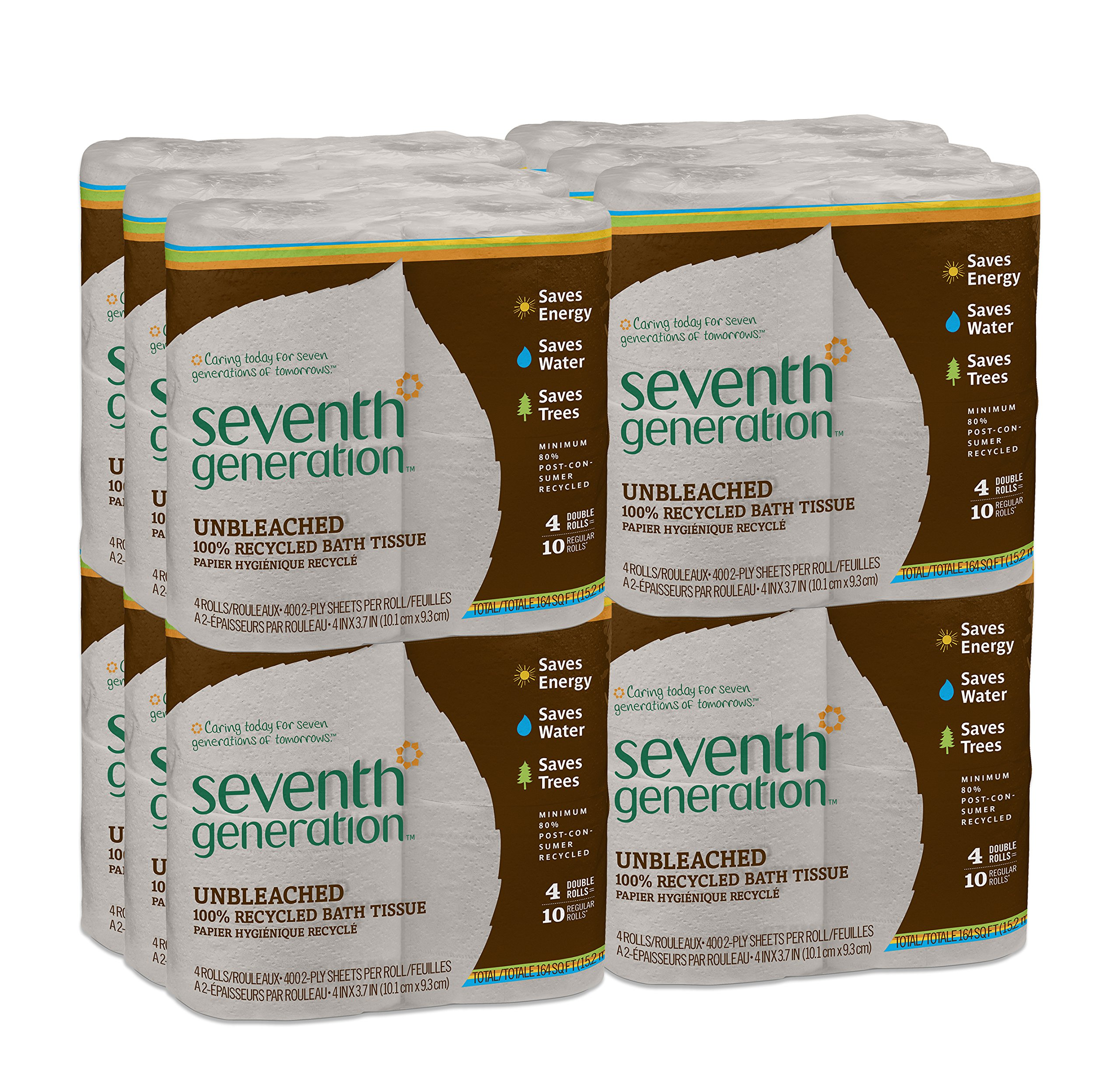 Seventh Generation Unbleached Toilet Paper, Bath Tissue, 100% Recycled Paper, 4 Count (Pack of 12)
