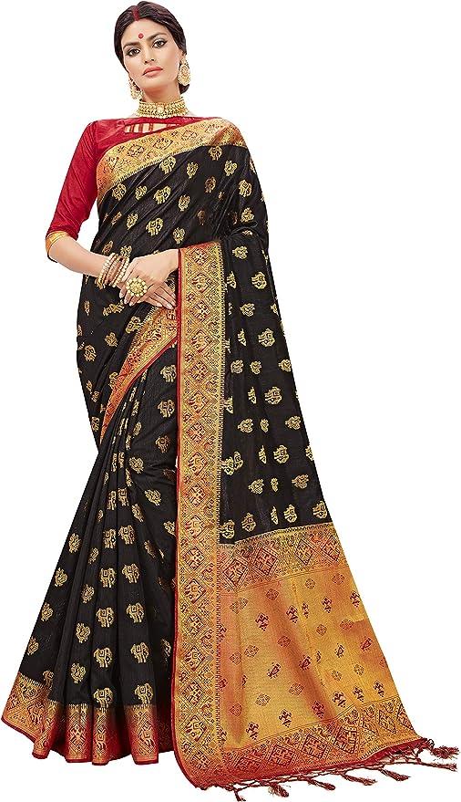 STYLE INSTANT Sarees for Women Banarasi Art Saree en Soie tiss/ée Saree l Indien Cadeau de Mariage Sari avec Chemisier Non Cousu