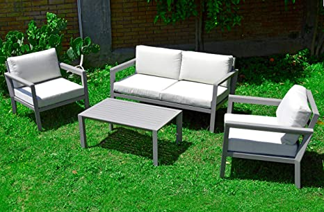 Scaramuzza Modo salón de jardín de Aluminio Color Pardo sofá ...