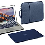 GMYLE 3 in 1 Bundle Navy Blue Soft-Touch Frosted Hard Case for Macbook Air 13 inch (A1369/A1466), Water Repellent Laptop Sleeve with Handle and Pocket and Navy Blue Silicon Keyboard Cover [US layout]