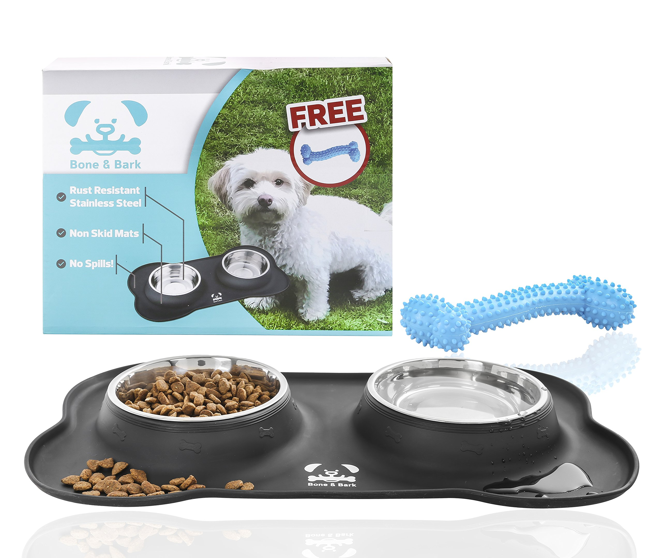 No Spill Dog Bowls by Bone&Bark - Non Skid Mat with Stainless Steel Bowls and Bonus Chew Toy - Perfect Feeding Tray for Small Dogs and Puppies - Untippable Holder Prevents Food, Water Spills and Mess