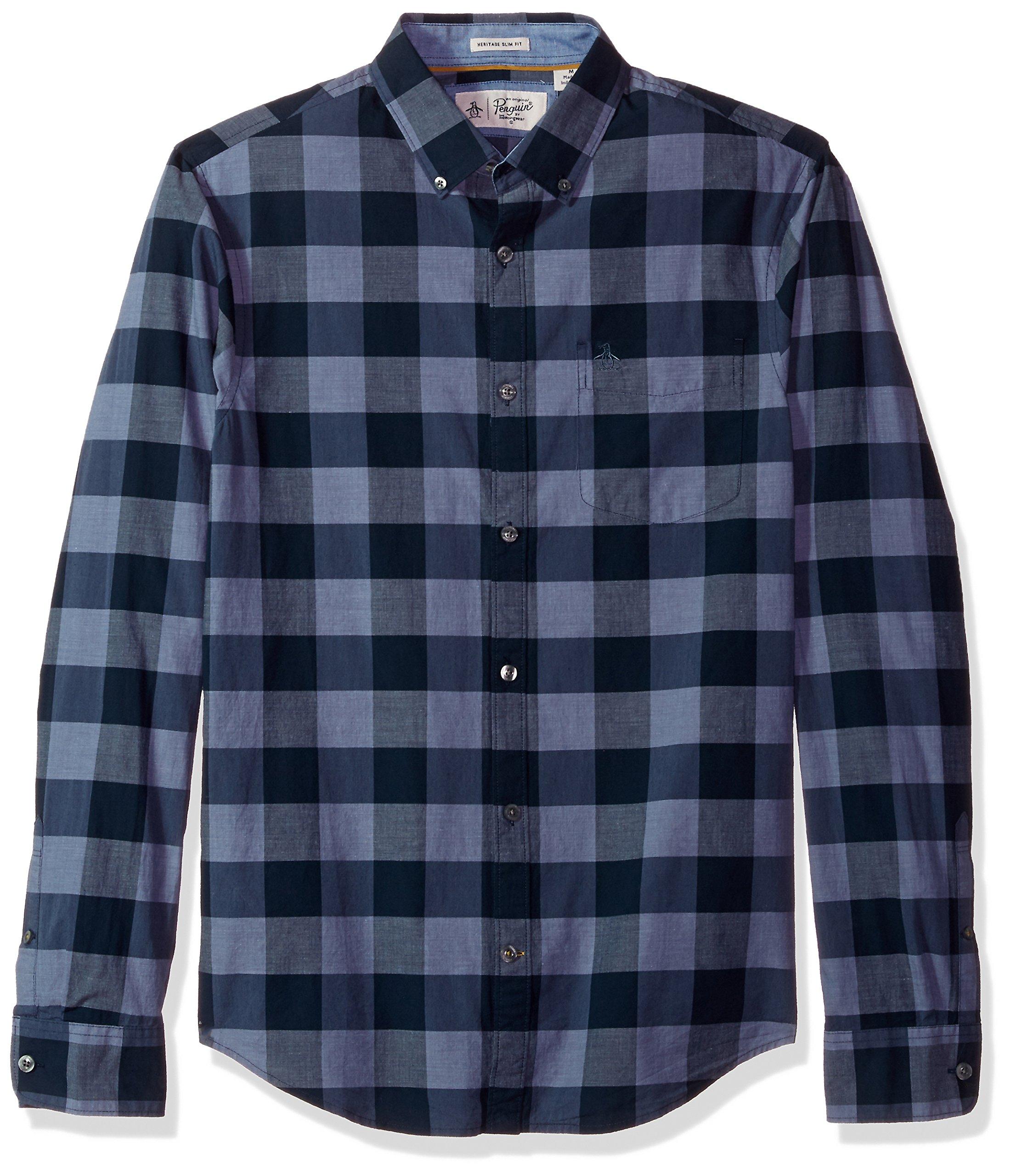Original Penguin Men's P55 End Plaid Shirt, Vintage Indigo, Extra Extra Large