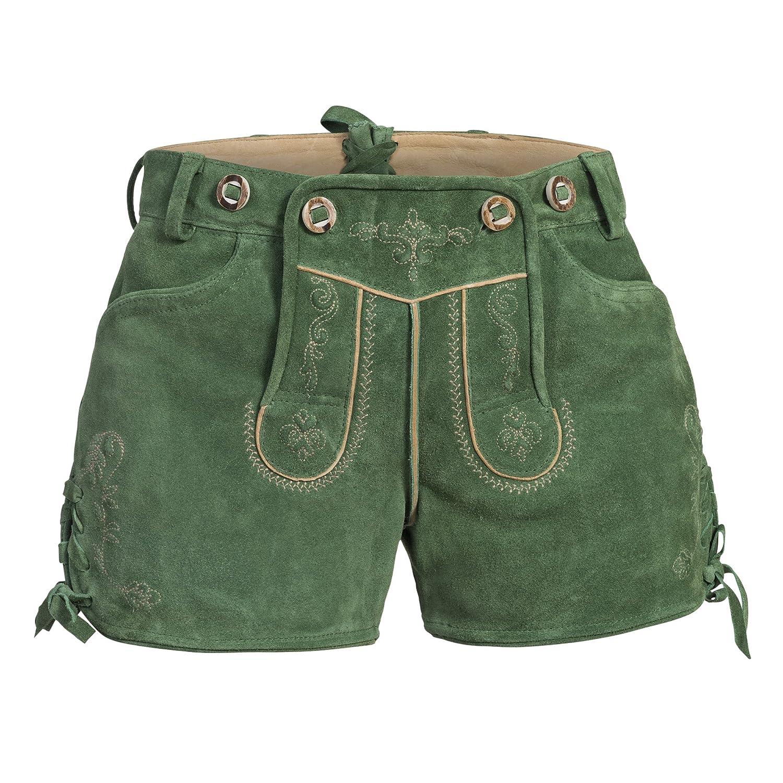 Damen Trachten Lederhose, Ledershorts in pastellgrün aus Ziegenveloursleder, verfügbar in Größe 34 bis 46