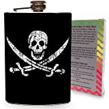 Pirate Jolly Roger Flag Flask Stainless Steel 8oz Silver Metal Hip Flasks Skull & Crossbones for Drinking Whiskey Vodka Gin Liquor Spirits - Gift Box