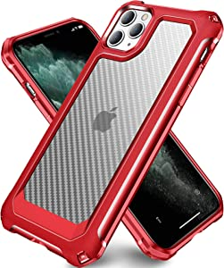 SUPBEC Compatible for iPhone 11 Pro Max Case and [ Screen Protector Tempered Glass x2Pcs] Protective Phone Cover [HeavyDuty Series] Shockproof Silicone for iPhone 11Pro Max Phone Case-Clear Red-6.5