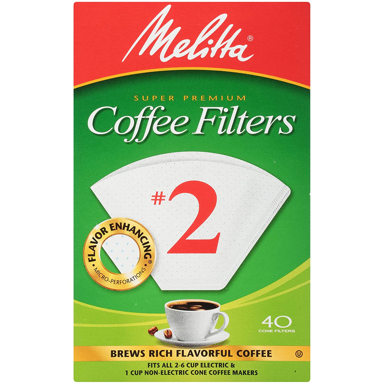 Melitta #2 Super Premium Cone Coffee Filters, White,40 ct