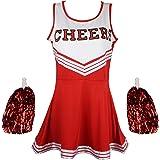 Uniforme de Pom-Pom Girl High School Musical pour fille avec pompons en 6couleurs,5tailles au choix
