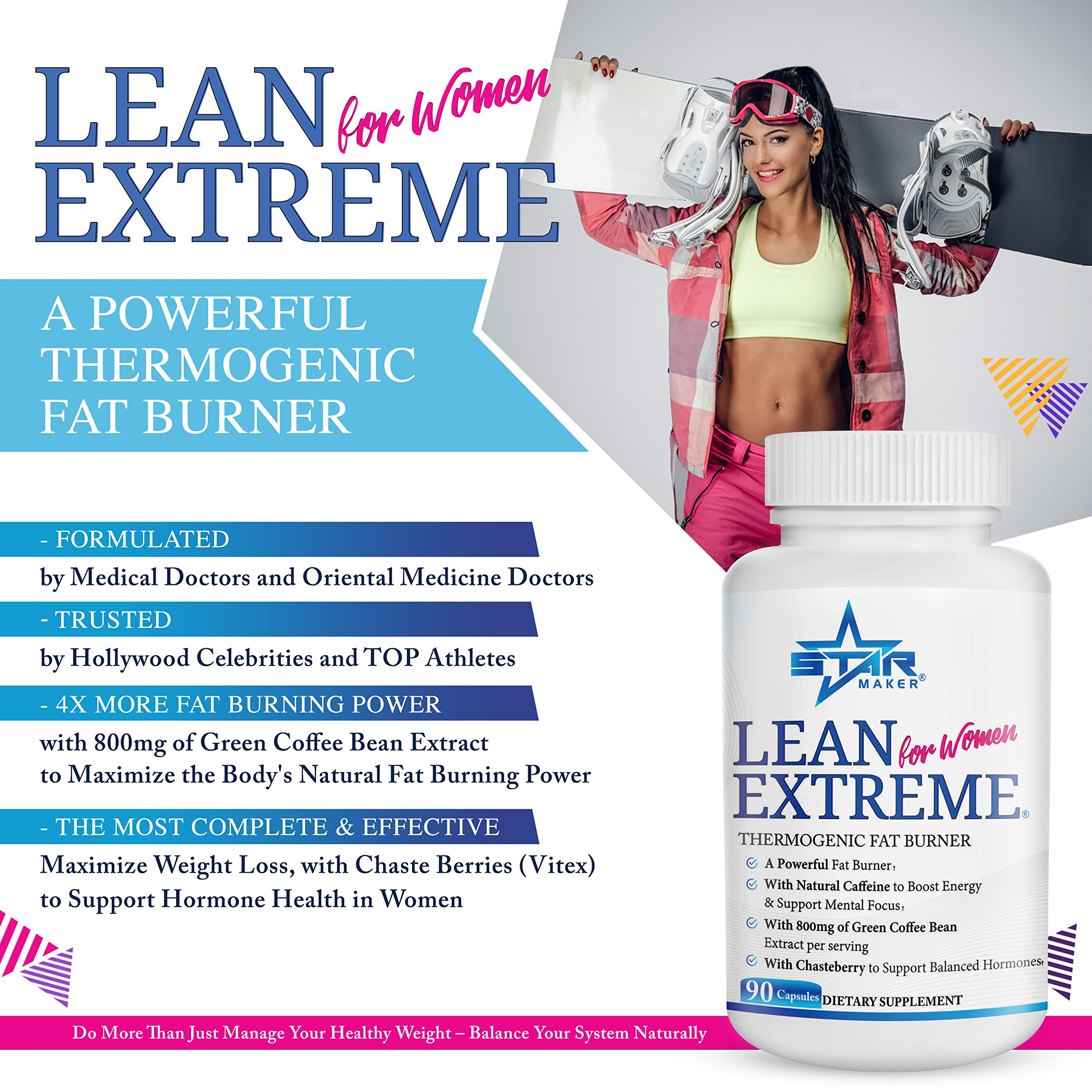 Lean Extreme Keto Weight Loss Diet Pills and Thermogenic Fat Burner for Women - 4X More Green Coffee Bean, Appetite Suppressant & Energy Booster, Supports Balanced Hormones, 90-Count by STARMAKER (Image #2)