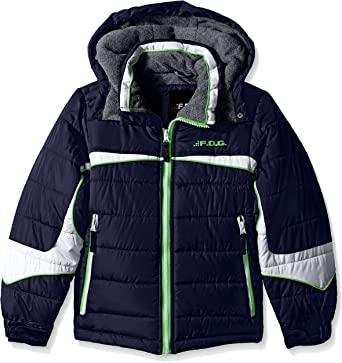 London Fog Big Boys Navy /& Green Puffer Jacket Size 8 10//12 14//16