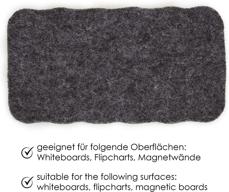 reinigt und trocknet Tafeln Flipcharts und Glasoberfl/ächen geeignet magnetisch f/ür Whiteboards WINTEX 5er Set Tafelwischer