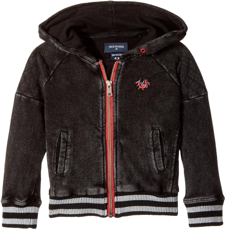 10262bb01 Amazon.com  True Religion Kids Baby Girl s Moto Zip-Up Hoodie  (Toddler Little Kids) Black 2T  Clothing