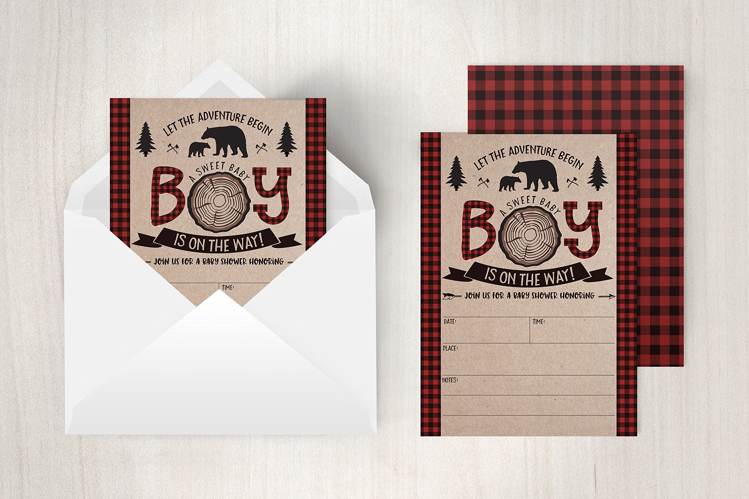 Lumberjack Baby Shower Invitations, Boy Baby Shower Invitations, Mama Bear Baby Shower Invites, Woodland Baby Shower Invitations, 20 Fill in Invitations and Envelopes by Your Main Event Prints (Image #3)