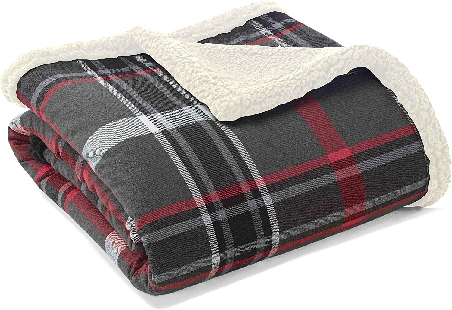 "Eddie Bauer Flannel Winslow Sherpa Fleece Throw, 50"" x 60"", Grey"