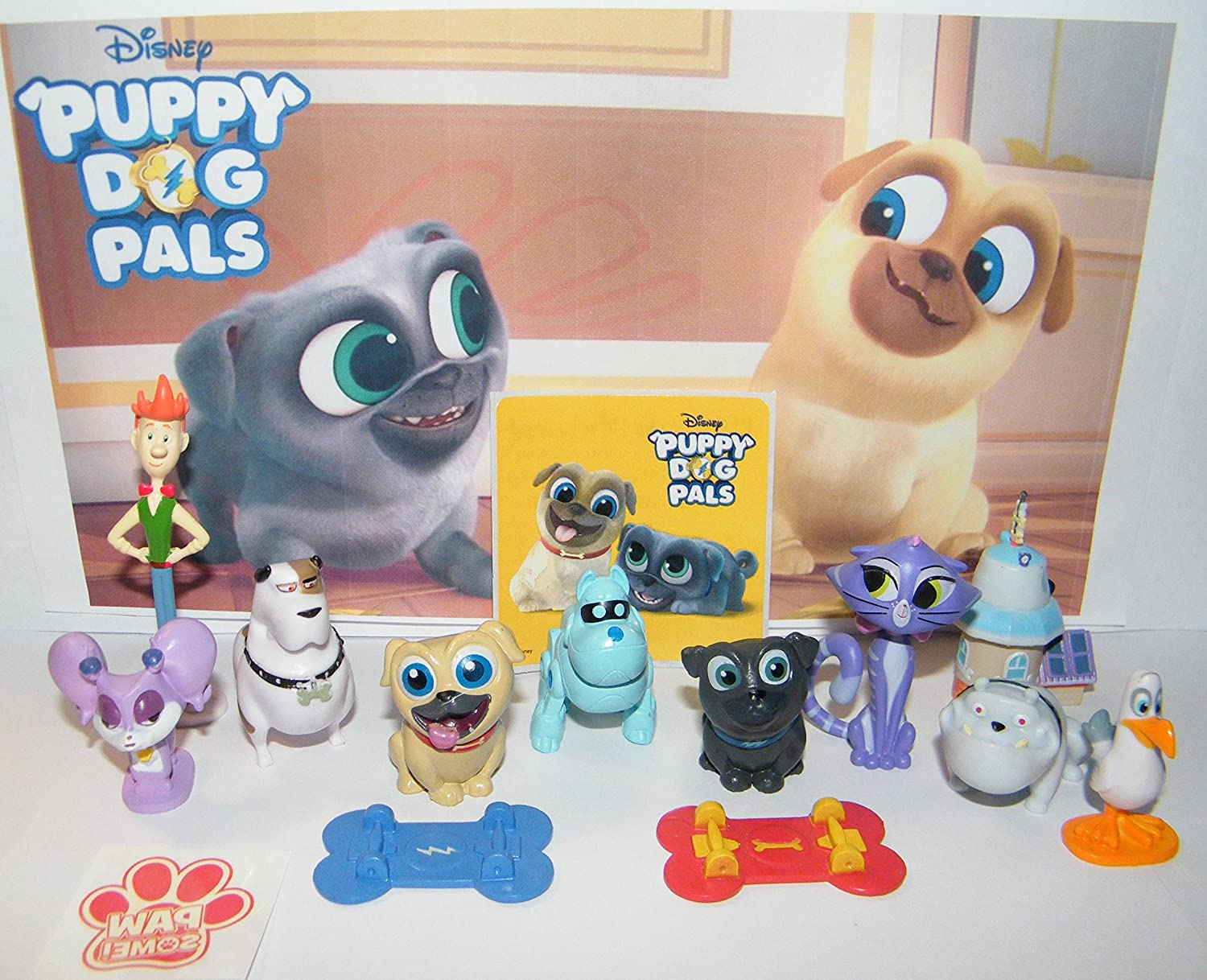 Party Time Pals Sticker and PAW Tattoo Featuring Rolly 2 Skateboards Bingo and All Friends Disney Puppy Dog Pals Deluxe Party Favors Goody Bag Fillers Set of 14 with 10 Figures