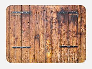 Ambesonne Rustic Bath Mat, Antique Timber Planks in Weathered Tones with Locks Vintage Style Country House Picture, Plush Bathroom Decor Mat with Non Slip Backing, 29.5