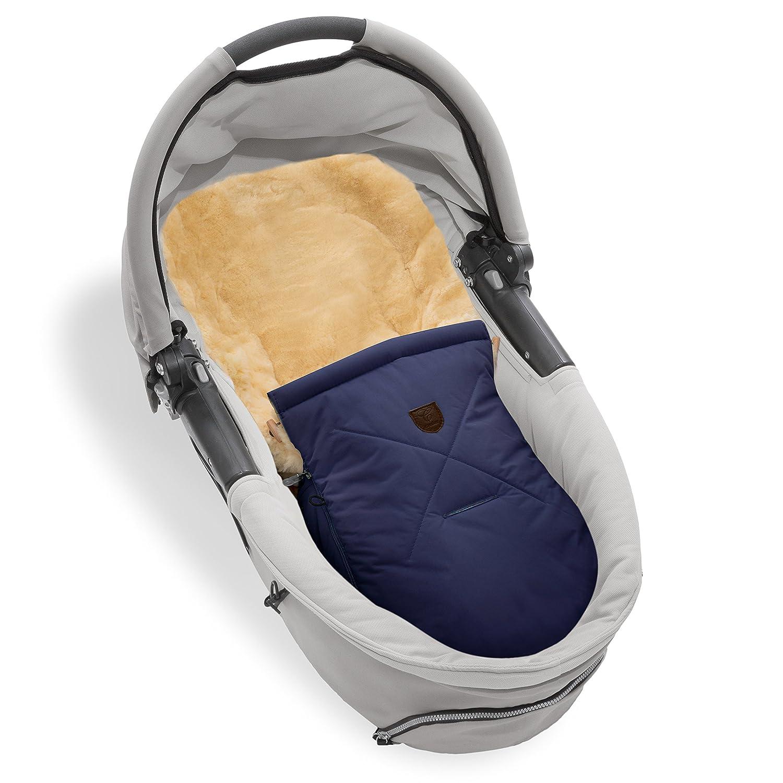 Saco cubrepiernas de piel de cordero/borreguito para capazo, carro de bebé y portabebés CHRIST-universal (78x33 cm) para invierno de curtido medicinal, ...