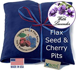 KOYA Naturals Soft Velvet Flax Seed, Lavender & Cherry Pit/Stone Pillow Heating Pad Microwavable - Moist Heat Pack Pad for Neck, Muscles, Joints, Stomach Pain, Menstrual Cramps (Blue)