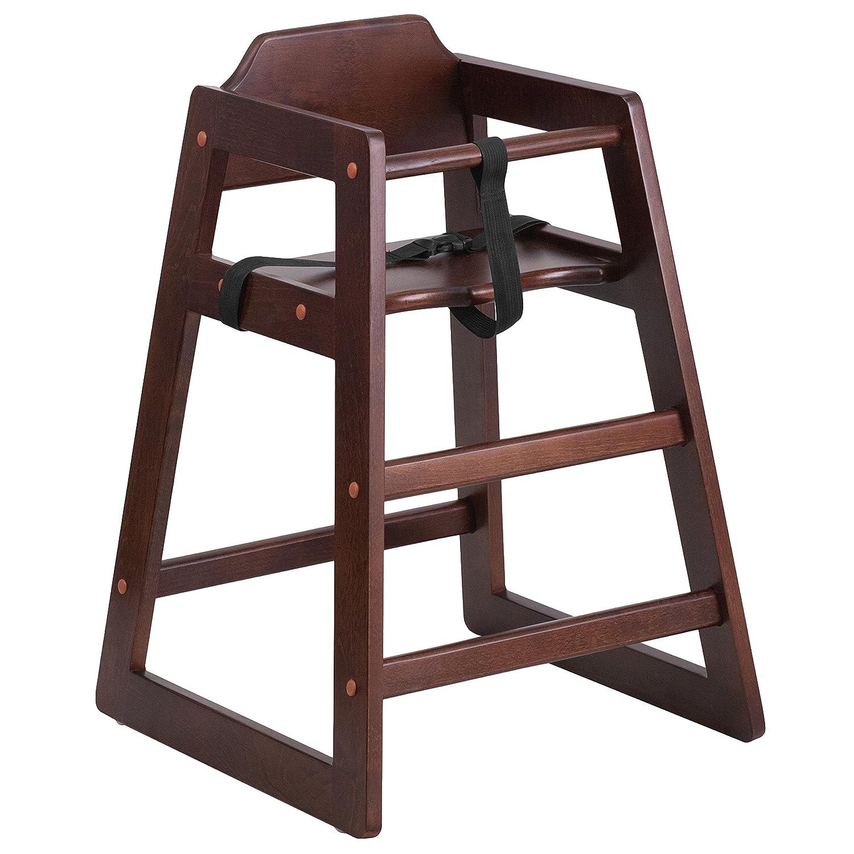 Flash Furniture HERCULES Series Stackable Walnut Wood Finish Baby High Chair [XU-DG-W0024-WAL-GG]   B01597EJ4G
