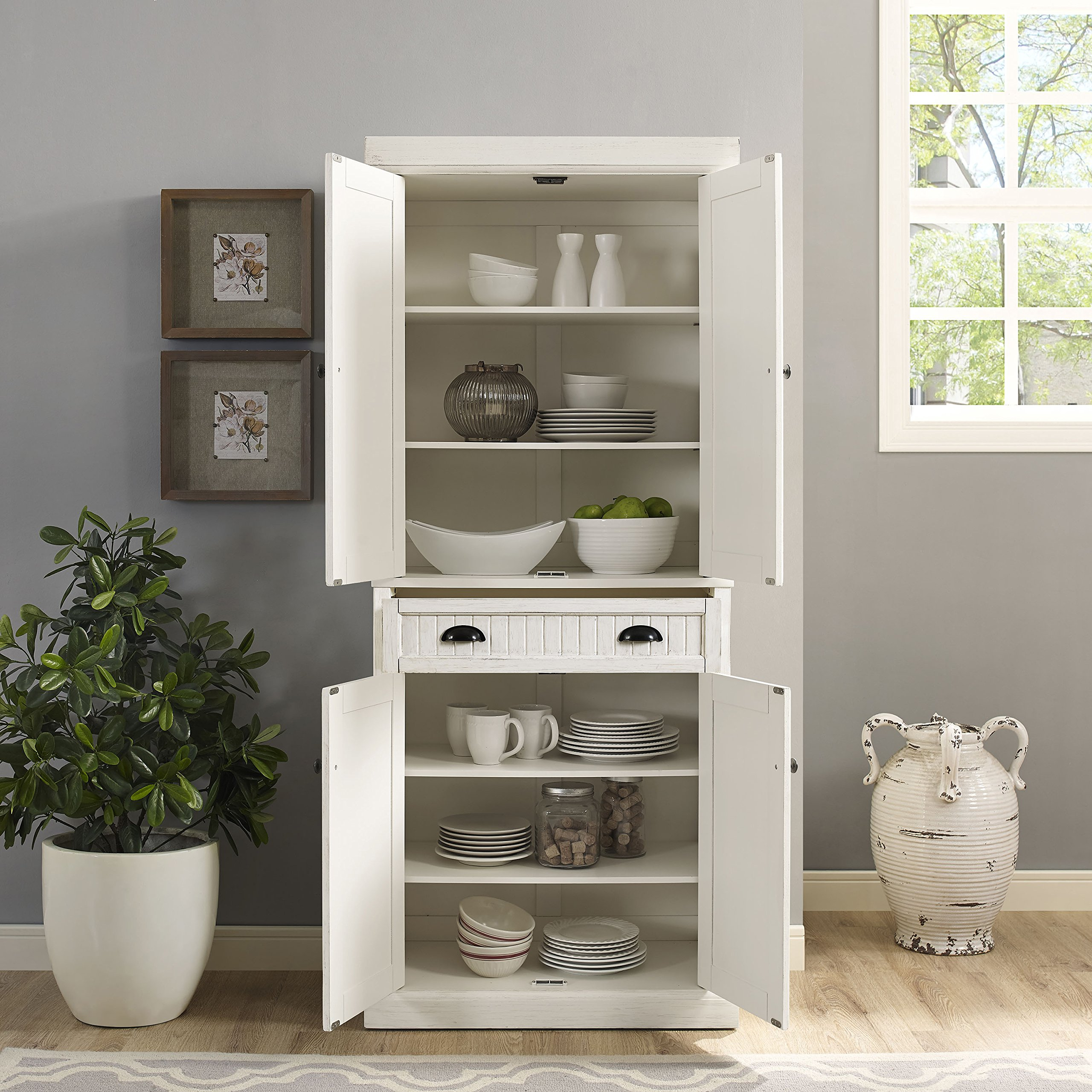 Crosley Furniture Seaside Kitchen Pantry Cabinet - Distressed White by Crosley Furniture (Image #11)
