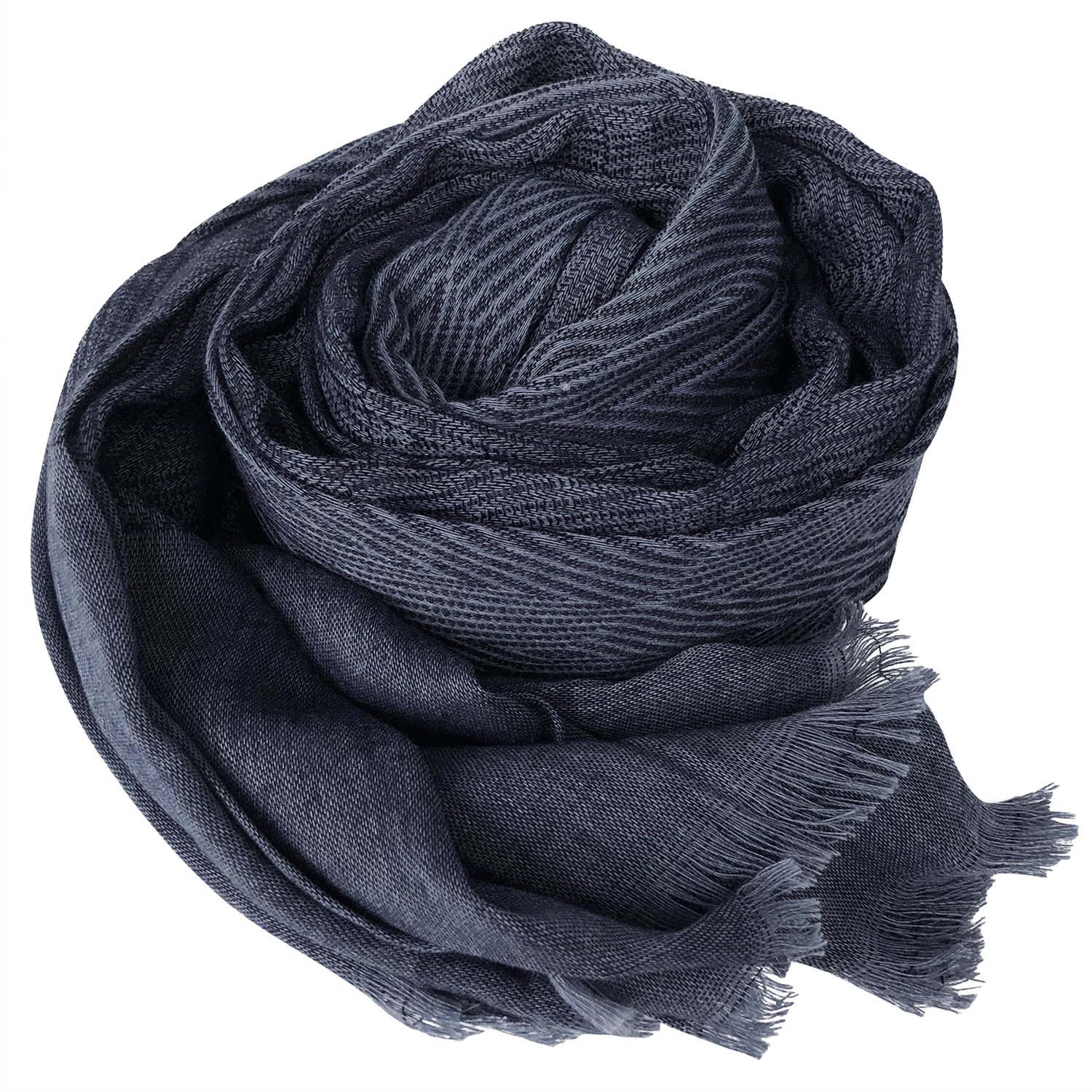 GERINLY Men Scarves Twill Cotton-Linen Long Winter Scarf (NavyBlue) by GERINLY (Image #2)