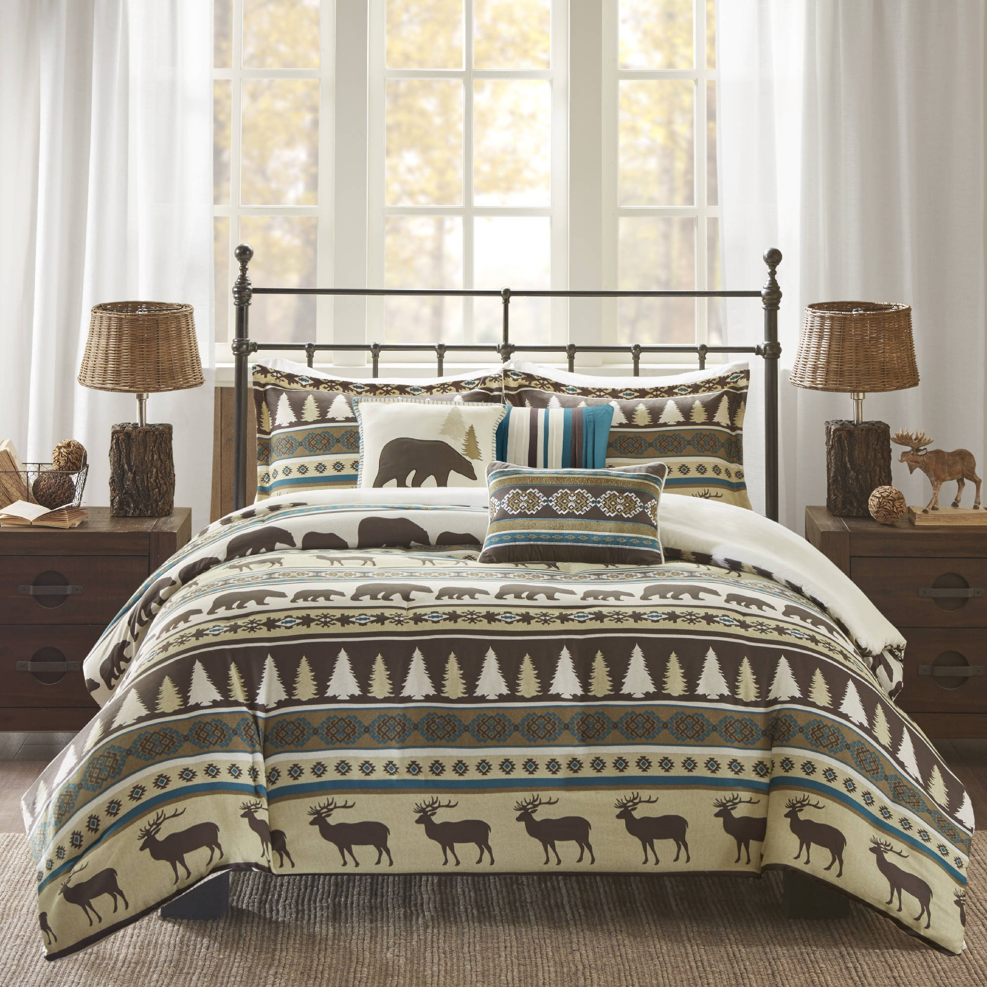 6 Piece Teal Brown Stripe King/Cal King Duvet Cover Set, Lodge Animal Print Themed Bedding, Cabin Country Tartan Pattern Cottage Woods Bears Deer Pine Trees Horizontal Diamond Patterns,Polyester