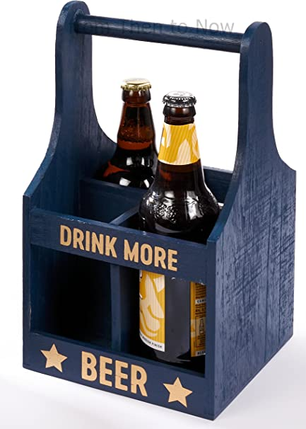 Caja de madera rústica para cerveza con 4 botellas en caja de regalo «Beber más cerveza»: Amazon.es: Jardín