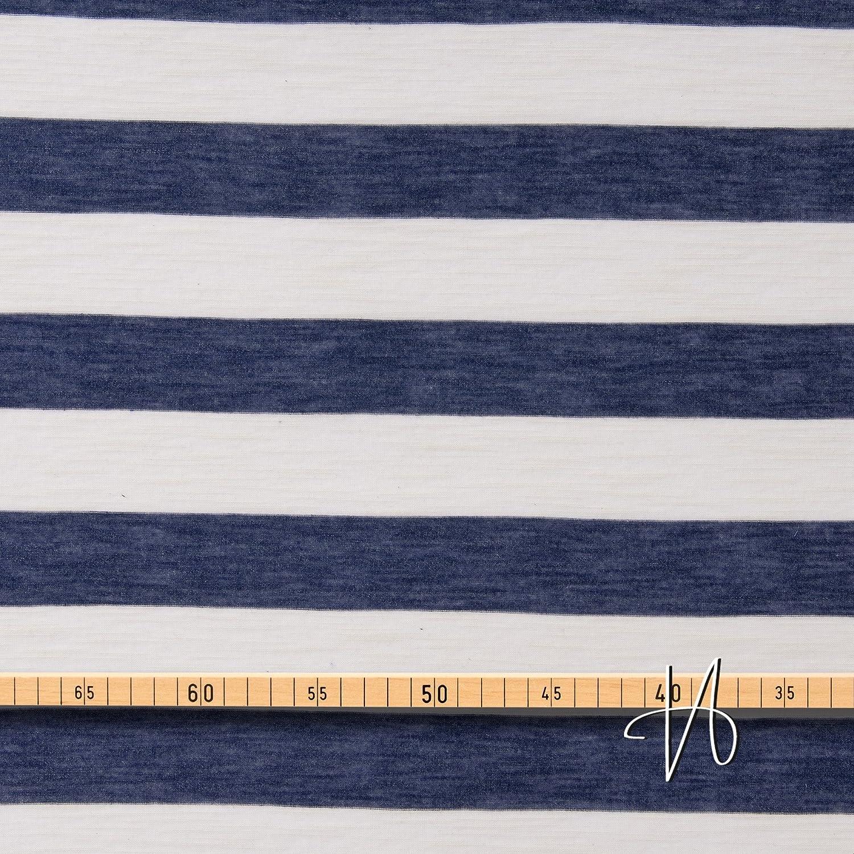 17-030M 0,5m MIRABLAU DESIGN Stoffverkauf Baumwolle Viskose Jersey Blockstreifen blau wei/ß