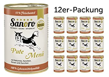 sanoro Menú Classic Pute con 55% Carne Porcentaje – Perros Forro en calidad alimentaria –