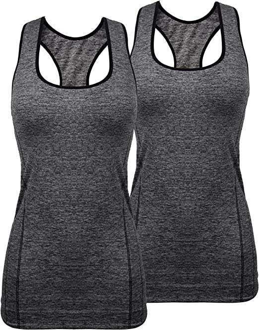 iloveSIA Womens Sports Tank Top High Impact Racerback Workout Yoga Tank Top Pack of 2