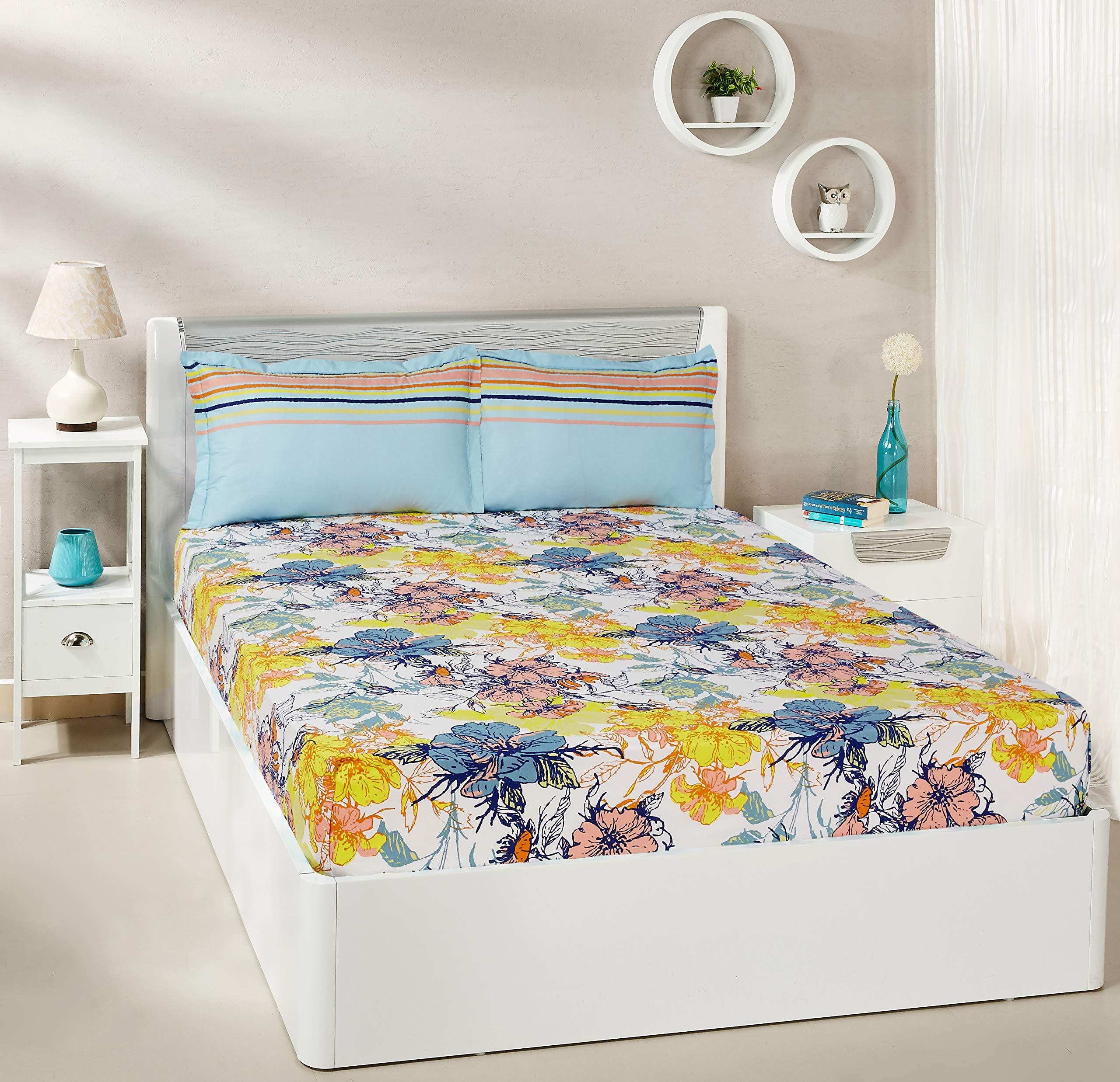 Amazon Brand - Solimo Floral Splash 144 TC 100% Cotton Double Bedsheet with 2 Pillow Covers, Peach product image