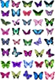 40 x Mixed Butterflies Edible Cake Toppers (Wedding, Birthday) Cupcake Topper Decorations