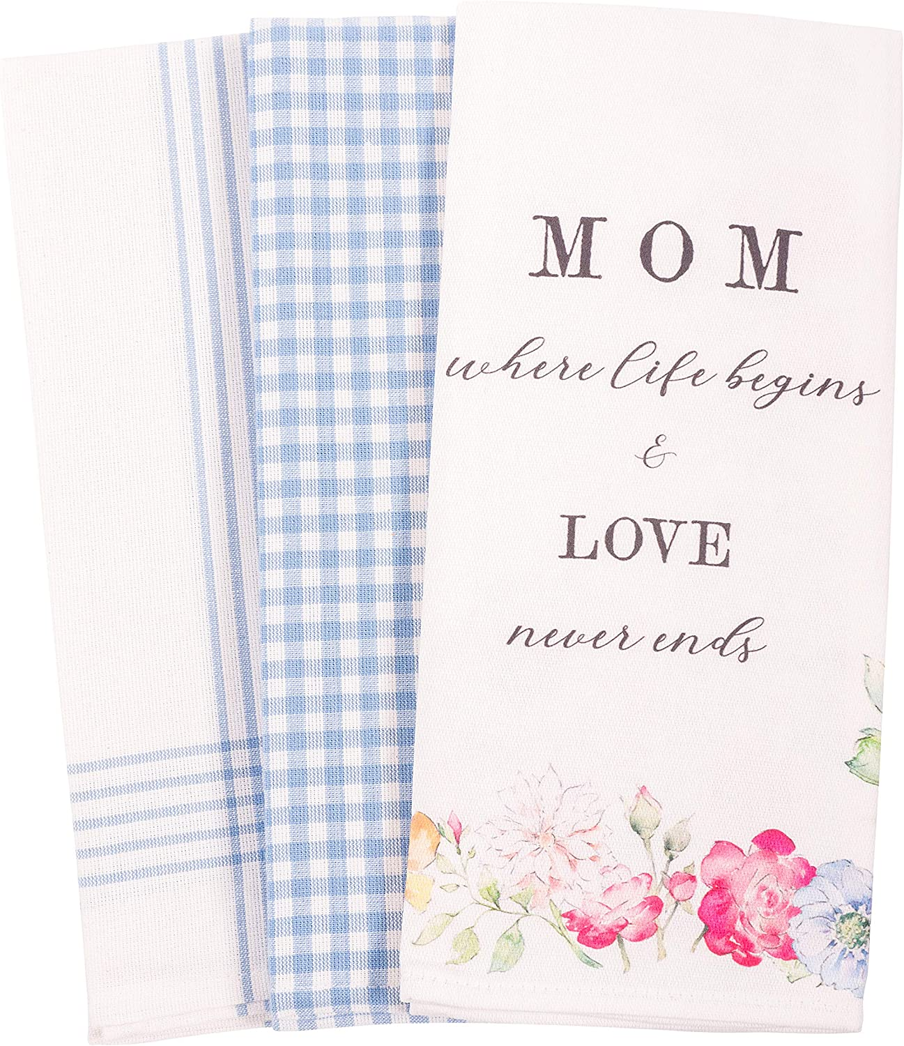 KAF Home Bloom Mom's Kitchen Towel Set of 3, 100-Percent Cotton, 18 x 28-inch (Where Life Begins and Love Never Ends)