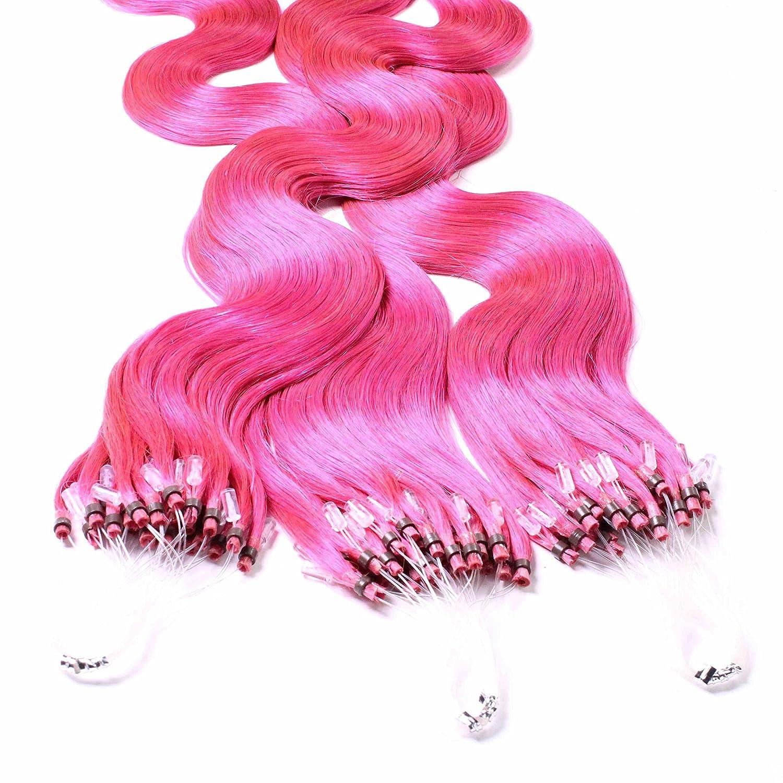 hair2heart 50 x Microring Loop Extensions aus Echthaar, 40cm, 1g Strähnen, gewellt - Farbe 4 braun 1g Strähnen 4260432418965