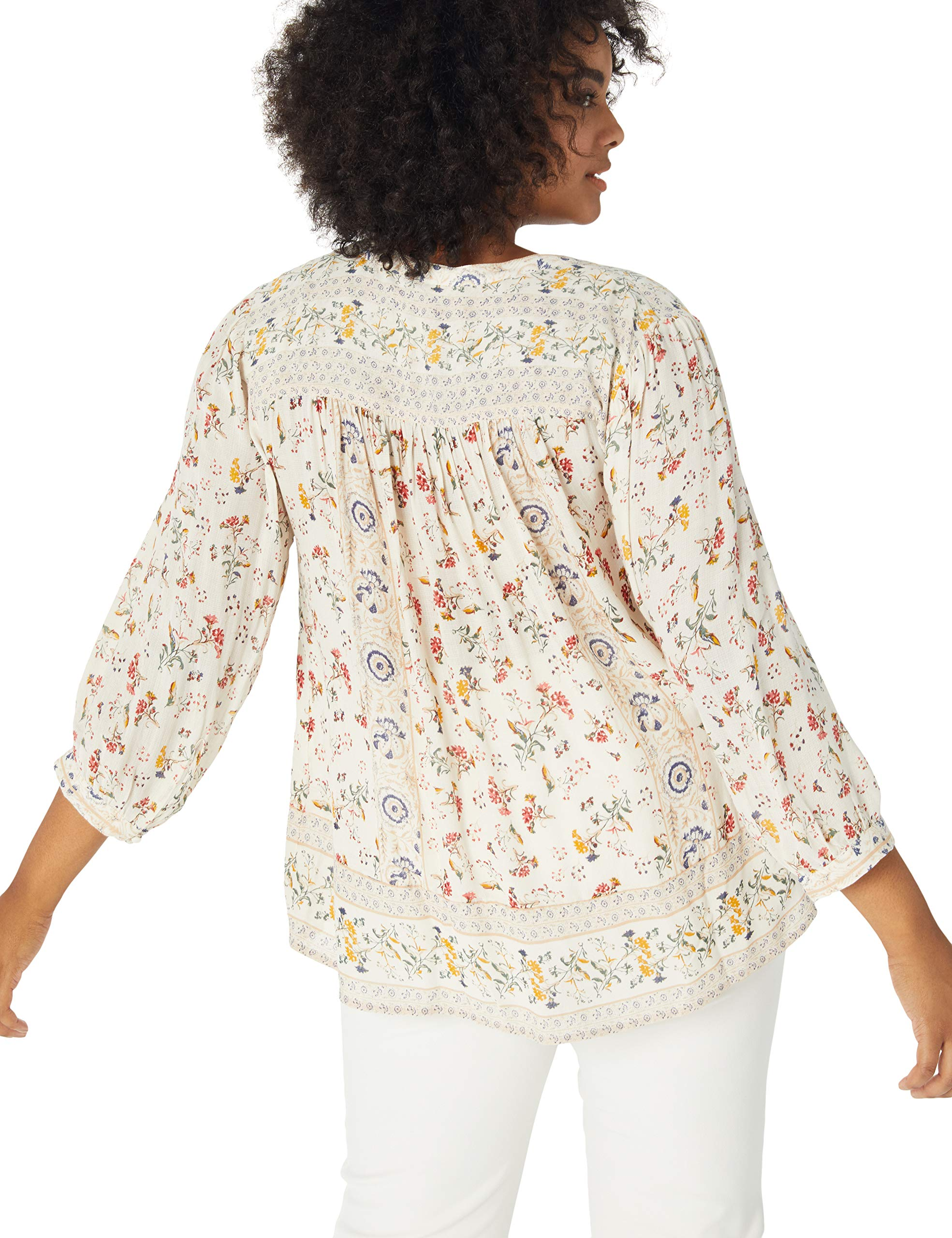 Lucky Brand Women's Plus Size Printed Peasant Top, Natural Multi, 2X by Lucky Brand (Image #2)
