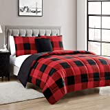 Sweet Home Collection 4 Piece Buffalo Check Plaid Design Reversible to Solid Color with 2 Shams & Throw Pillow, Full/Queen, B