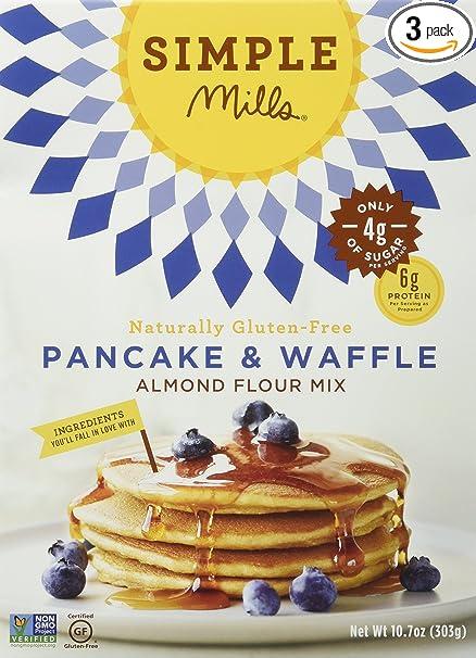 Simple Mills Almond Flour Mix, Pancake & Waffle, Naturally Gluten Free, 10.7 oz, Pack of 3