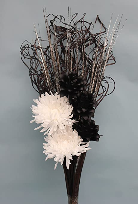 Artificial silk silver glitter bouquet with black and white flowers artificial silk silver glitter bouquet with black and white flowers ready for your vase mightylinksfo