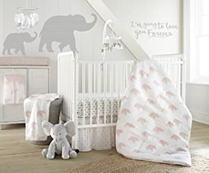 Levtex Baby Malawi Blush Elephants 5 Piece Crib Bedding Set, Quilt, 100% Cotton Crib Fitted Sheet, Dust Ruffle, Diaper Stacker and Large Wall Decals