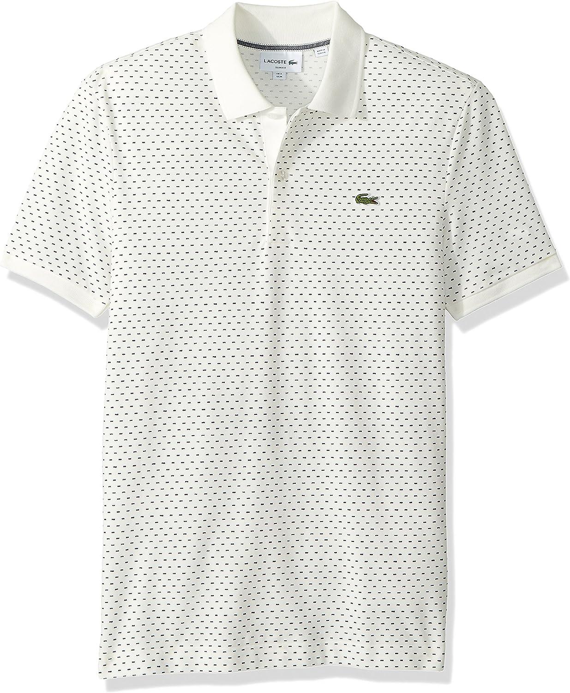 Lacoste Mens Short Sleeve Slim Printed Pique Polo